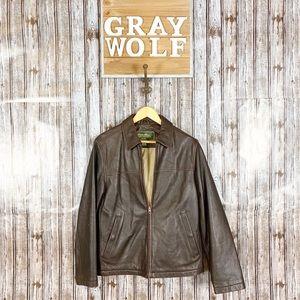 Eddie Bauer Brown Leather Jacket Size S